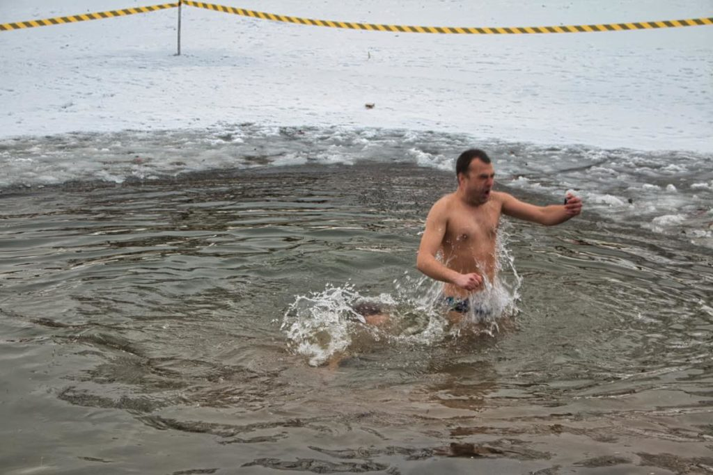 Ukraine Christmas ice bathing